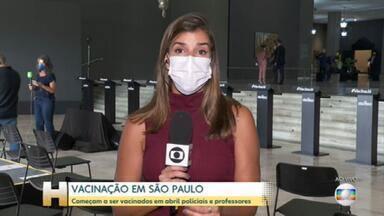 SP anuncia vacinação contra Covid-19 de professores e policiais - Imunização de policiais começa no dia 5 de abril e a de educadores, no dia 12. Anúncio foi feito pelo governo de São Paulo nesta quarta-feira (24). Estado também antecipou para sexta (26) início da vacinação de idosos entre 69 e 71 anos.