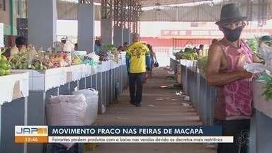 Movimento fraco nas feiras de Macapá preocupa vendedores que perdem estoque - Com o lockdown, funcionamento dos espaços foi reduzido e as pessoas deixaram de ir também.