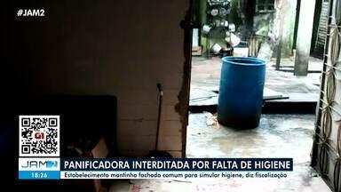 Panificadora é interditada em Manaus por falta de higiene - Estabelecimento mantinha fachada comum para simular higiene, diz fiscalização