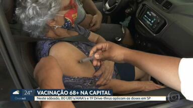 Idosos com mais de 68 anos podem se vacinar contra Covid-19 em São Paulo - Este sábado (3) é o segundo dia de vacinação para idosos a partir de 68 anos na capital. Além das UBSs integradas às AMAs, tem vacinação em 19 drives-thru espalhados por todas as regiões da cidade.