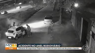 Câmeras de segurança flagram acidente no Anel Rodoviário, em Belo Horizonte - Mulher perde o controle da direção e capota na altura do bairro Universitário, na região da Pampulha.