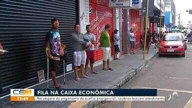 Caixa Econômica tem fila de atendimento para auxílio emergencial - Saiba mais em g1.com.br/ce