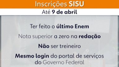 Inscrições para o Sisu começam nesta terça-feira - As inscrições são feitas exclusivamente pelo site (www.sisu.mec.gov.br) até o dia 9 de abril.