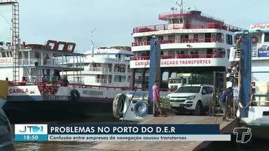Confusão entre empresas que transportam passageiros e mercadorias causa transtornos - No porto do DER a luta por espaço é constante. Veja na reportagem de Érique Figueirêdo.