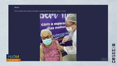 Telespectadores enviam fotos e vídeos mostrando o momento da vacinação contra a Covid-19 - Participe você também! Envie sua foto ou vídeo através do (43) 99972-5178.