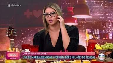 Marília Mendonça fala sobre projeto 'Todos os Cantos' com shows gratuitos - Cantora, que também se apresentou para multidões no exterior, sente falta do público por conta da pandemia. Primeira live da cantora foi vista por 3 milhões de pessoas e quebrou a internet
