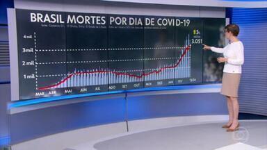 Brasil registra 3.687 mortes por Covid em 24 horas - O total de óbitos pela doença no país chega a 358.718. A média móvel de mortes é de 3.051.