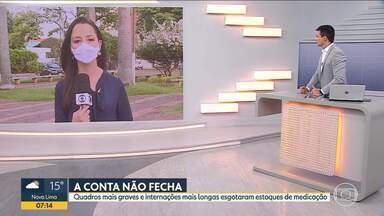 Cidades do Triângulo Mineiro tiveram que reduzir leitos de UTI para Covid-19 - A medida foi tomada porque não existem estoques suficientes de medicamentos e profissionais para cuidar dos pacientes.