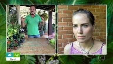 Murilo Soares ensina Letícia Colin a cultivar alecrim e pimenta - A atriz mostra as plantas que tem em sua casa e confessa ter deixado algumas morrerem