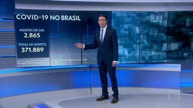 Brasil passa de 370 mil mortes por Covid - O país registrou 2.865 mortes pela doença em 24 horas, totalizando 371.889, de acordo com os dados atualizados pelo consórcio de veículos de imprensa.