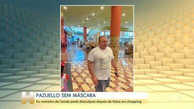 Pazuello diz que entrou sem máscara em shopping para comprar uma nova e pediu desculpas - Ex-ministro da Saúde foi visto no domingo em um Shopping de Manaus sem usar a proteção.