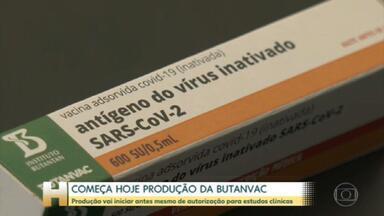 Vacina ButanVac: produção vai iniciar antes mesmo de autorização para estudos clínicos - O governo de São Paulo anunciou que vai começar a produzir nesta quarta-feira (28) a ButanVac, uma outra vacina contra a Covid-19, antes mesmo de ter a autorização da Anvisa para iniciar os estudos clínicos em humanos.