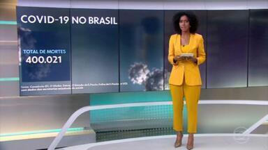 Brasil quadruplica ritmo de mortes e atinge 400 mil vidas perdidas para a Covid - Últimos 100 mil óbitos foram registrados em apenas 36 dias. Apesar de queda nas taxas de morte no momento, após endurecimento de medidas de restrição, abril foi o mês mais letal e teve mais de 2 mil vítimas diárias.