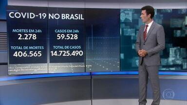 Brasil chega a 406 mil mortes por covid-19 - Média de mortes é de 2.422 por dia