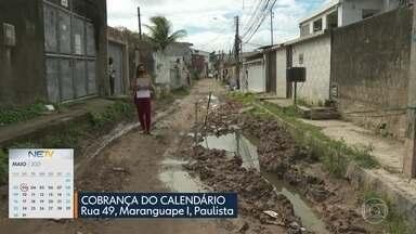 Na rua 49, em Maranguape I, Paulista, moradores esperam conclusão de uma obra há anos - De acordo com a prefeitura de Paulista obra não foi concluída porque o serviço está sendo investigado pela Polícia Civil em Pernambuco, suspeita de fraudes nas licitações.