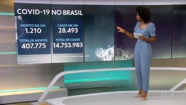 Brasil registra 1.210 mortes por Covid em 24 horas e total de vítimas passa de 407 mil - Desde o início da pandemia, já são 14.753.983 infectados.