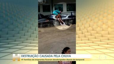 Famílias de imigrantes atingidas por um temporal em Manaus estão abrigadas na Vila Olímpica - Chuva de ontem destruiu um abrigo de trânsito para imigrantes.