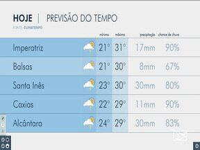 Veja as variações das temperaturas no Maranhão - Confira a previsão do tempo nesta quarta-feira (5) em São Luís e também no interior do estado.
