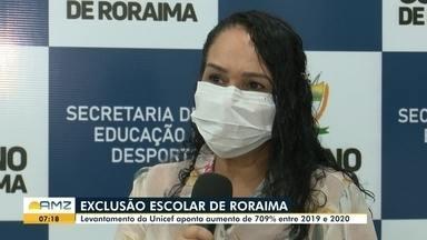 Exclusão escolar de Roraima - Levantamento da Unicef aponta aumento de 709% entre 2019 e 2020.