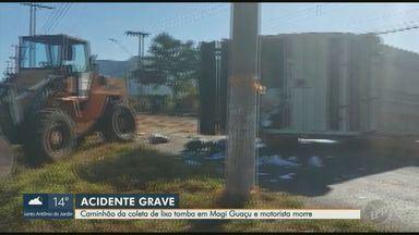Motorista morre após acidente com caminhão de coleta de lixo em Mogi Guaçu - Homem perdeu o controle e foi lançado para fora do veículo. Outros dois trabalhadores do caminhão também ficaram feridos.