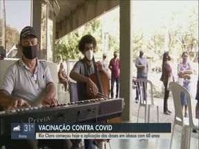 Rio Claro começa a aplicação de doses contra a Covid-19 em idosos com 60 anos - A cidade já vacinou 18,78% da sua população.