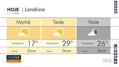 Sexta-feira (07) deve ser ensolarada, em Londrina - Para o fim de semana, também não há previsão de chuva.