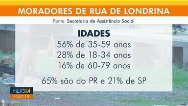 Pesquisa mostra que Londrina tem quase mil moradores em situação de rua - Mais da metade dos entrevistados (56%) tinham idade entre 35 e 59 anos, e 28% refere-se a jovens de 18 a 34 anos. Idosos de 60 a 79 anos formam os outros 16% deste público.