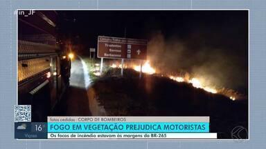 Focos de incêndio às margens da BR-265 ameaçam segurança de motoristas - O fogo se alastrou pela vegetação e a fumaça prejudicou a visibilidade dos motoristas. Corpo de Bombeiros foi acionado para controlar as chamas.