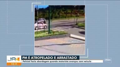 PM é atropelado e arrastado por carro após motorista fugir de abordagem em Florianópolis - PM é atropelado e arrastado por carro após motorista fugir de abordagem em Florianópolis
