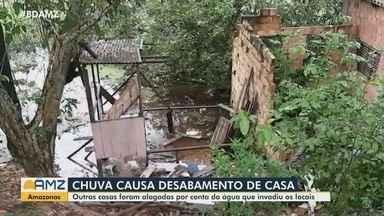 Chuva forte causa desabamento de casa na Zona Leste de Manaus - Outras casas foram alagadas.