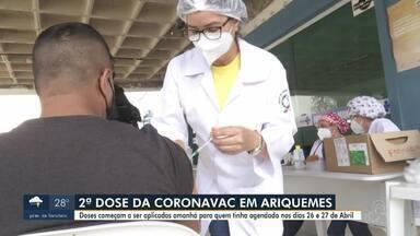 Prefeitura de Ariquemes aplica 2ª dose da Coronavac a partir de amanhã - Doses começam a ser aplicadas para quem estava agendado no dia 26 e 27 de Abril.