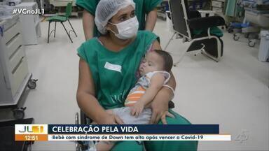Bebê com síndrome de Down tem alta médica após dez dias internado com Covid-19 - Bebê com síndrome de Down tem alta médica após dez dias internado com Covid-19.