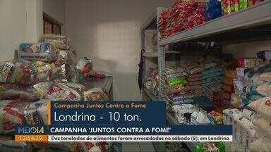 Mutirão da Campanha 'Juntos Contra a Fome' arrecada 10 toneladas de alimentos, em Londrina - A distribuição dos alimentos já começou.