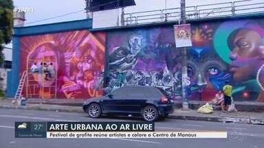Artistas internacionais participam de festival de grafite em Manaus - Cerca de 16 artistas colorem o Centro de Manaus.