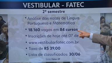 Estão abertas inscrições para vestibular da FATEC - Seleção dos candidatos será feita por análise do histórico escolar,