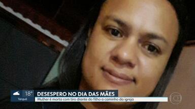 Mulher é morta com tiro na cabeça no Dia das Mães em São Gonçalo - Janaína dos Santos Duarte estava a caminho de casa com o filho quando foi atingida pelo disparo. Família conta que tiro partiu de bandido que manuseava uma arma na hora em que Janaína passou, voltando da igreja.