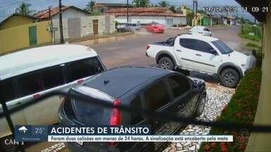 Câmeras flagram 2 acidentes na mesma esquina em menos de 24 horas em Macapá - Caso foi no cruzamento da Avenida Cid Borges de Santana com a Rua Yasmin dos Santos Brito, no bairro Infraero 2.