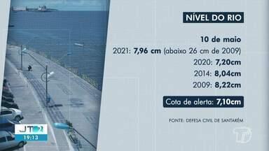 Confira o nível alcançado pelo Rio Tapajós nesta segunda-feira, 10 - Cota de alerta é de 7,10cm, segundo a Defesa Civil.