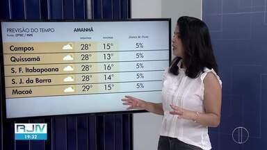 Confira a previsão do tempo para esta segunda-feira, 10/05/2021 - Fabiana Lima traz as temperaturas previstas para as cidades do Norte Fluminense.