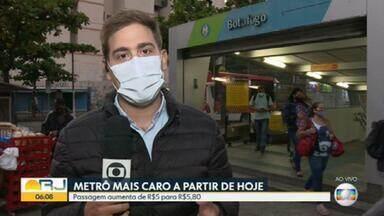 Passagem do metrô passa de R$ 5,00 para R$ 5,80, no Rio. - Acordo entre Governo do Estado e a concessionária do metrô deixou reajuste menor do que o previsto em contrato.
