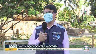 Betim vai retomar a aplicação da 2ª dose da vacina contra a covid-19 na quinta-feira - Prefeitura afirma que ainda faltam mais de 50 mil doses.