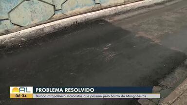 Prefeitura conserta buraco que atrapalhava motoristas em Mangabeiras - Douglas Lopes tem os detalhes.