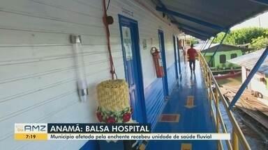 Anamã recebe balsa hospital durante a cheia - Município está bastante afetado pela enchente.