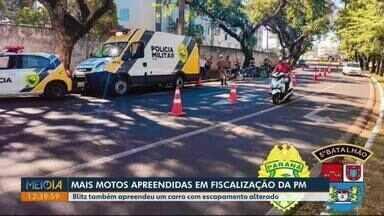 PM apreende motos em Londrina - Blitz também apreendeu um carro com escapamento alterado.