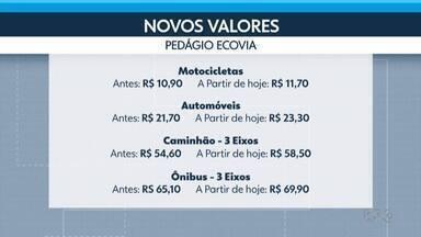 A tarifa do pedágio para o Litoral está mais cara - Para carros, a tarifa subiu de R$ 21,70 para R$ 23,30.