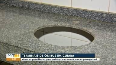 Em Cuiabá, terminais de ônibus estão sem água e sabão para os passageiros higienizarem as - Em Cuiabá, terminais de ônibus estão sem água e sabão para os passageiros higienizarem as mãos.