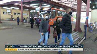 Transporte público volta com metade da frota em Ponta Grossa - Acordo entre funcionários e VCG define retomada de 50%.