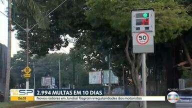 Radares em Jundiaí, no interior de SP, emitem quase 3.000 multas em apenas 10 dias - Avanço de sinal e excesso de velocidade estão entre as principais irregularidades.