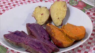 Batatas-doces coloridas possuem valores nutricionais diferentes - Agrônomo faz pesquisa com diferentes cores de batatas-doces. O sabor é bastante parecido entre elas.