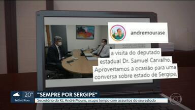 Secretário do RJ ocupa tempo trabalhando para Sergipe, seu estado de origem - André Moura é o representante do governo do RJ em Brasília. E não aparece com Cláudio Castro nas visitas que o governador fez na capital federal.